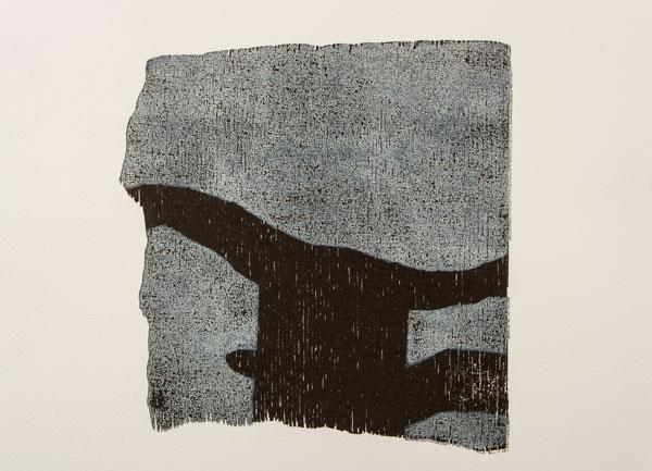 figur 1, 2010<br />Holzschnitt auf B&uuml;tten, 62 x 52 cm